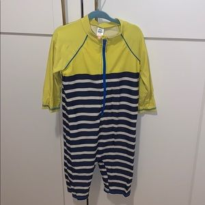 Mini boden boys one-piece rashguard swimsuit